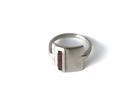 Erin Keary sterling silver shield ring with oregon stone inlay made with red and black jasper
