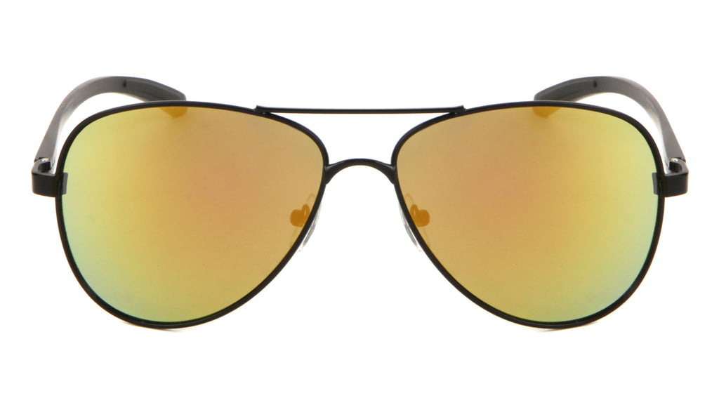 Aluminum Frame Color Mirror Aviators Bulk Sunglasses