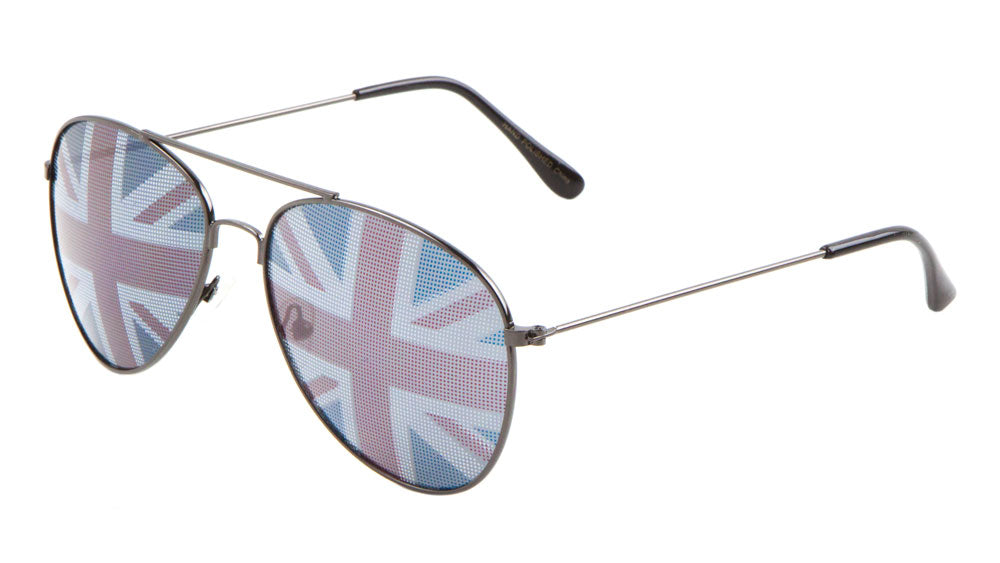 British Flag Aviators Wholesale Bulk Sunglasses