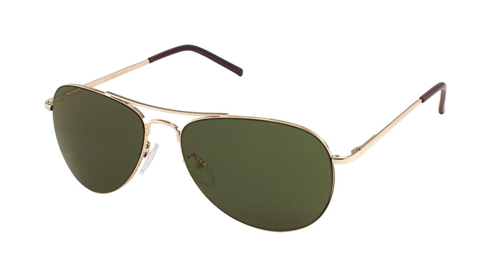 AV-1096-G15 - Green Lens Spring Hinge Aviators Wholesale Bulk Sunglasses