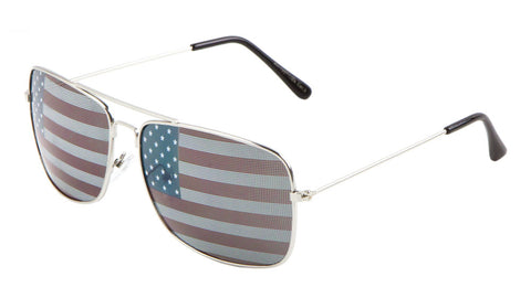 AV-1307-USA - Rectangle American Flag Aviators Wholesale Bulk Sunglasses