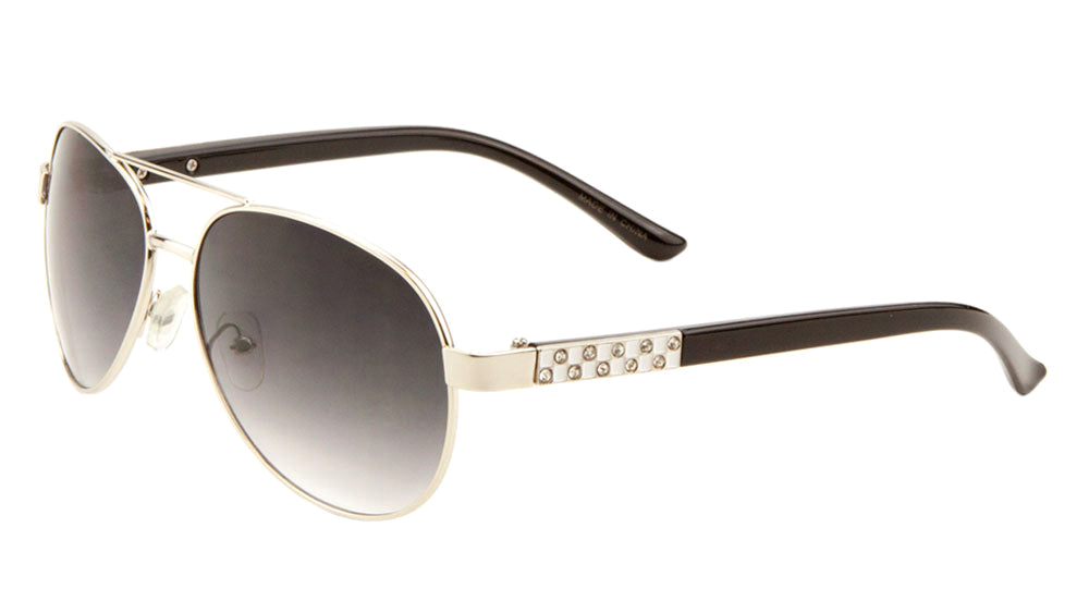 Rhinestone Temple Aviators Sunglasses Wholesale