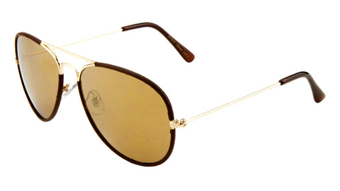 AV-1411-LTHR-CM - Leather Rim Color Mirror Aviators Bulk Sunglasses