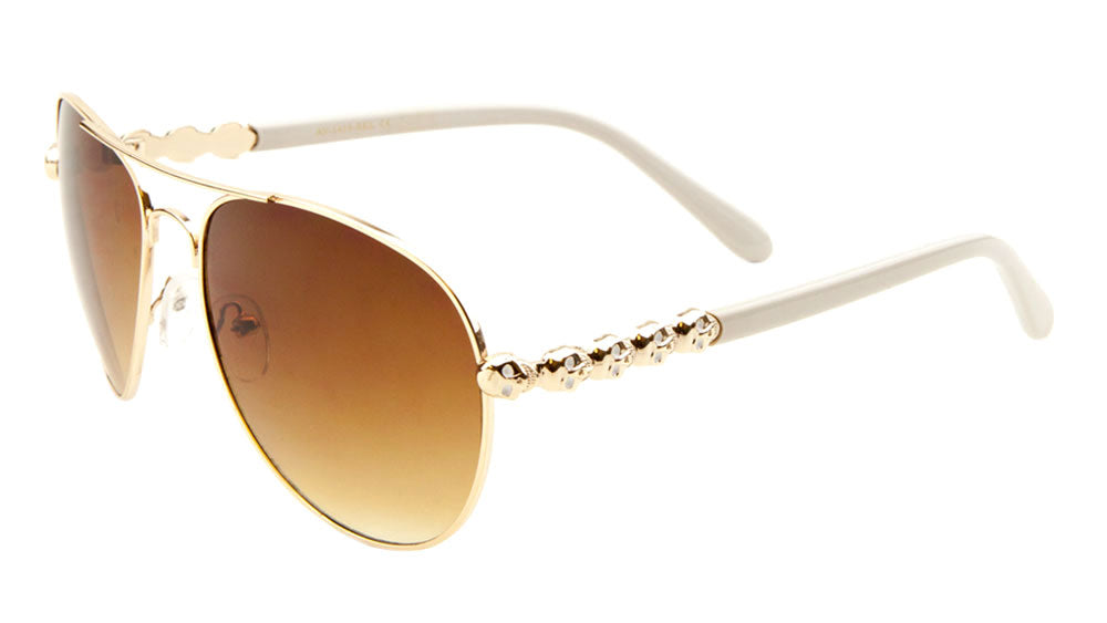 Skull Temple Aviators Wholesale Bulk Sunglasses