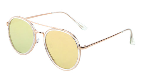 AV-1476-PINK - Rose Gold Aviators Wholesale Bulk Sunglasses