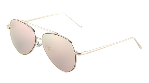 AV-1480-FT-PINK - Flat Rose Gold Aviators Wholesale Bulk Sunglasses