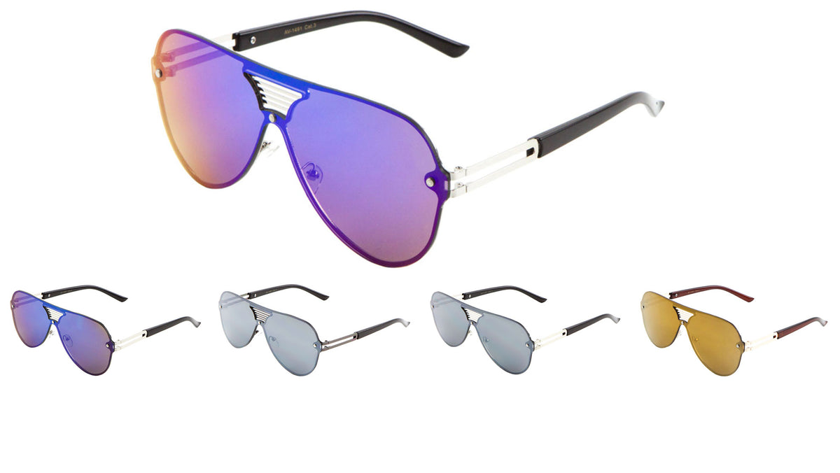 Solid One Piece Lens Aviators Wholesale Bulk Sunglasses