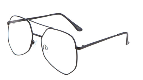 AV-1525-CLR - Angled Clear Lens Aviators Wholesale Bulk Glasses