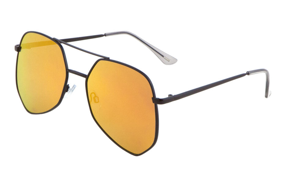 Angled Color Mirror Aviators Wholesale Bulk Sunglasses