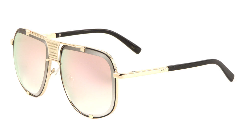 Aviators Front Grille Rose Gold Sunglasses Wholesale