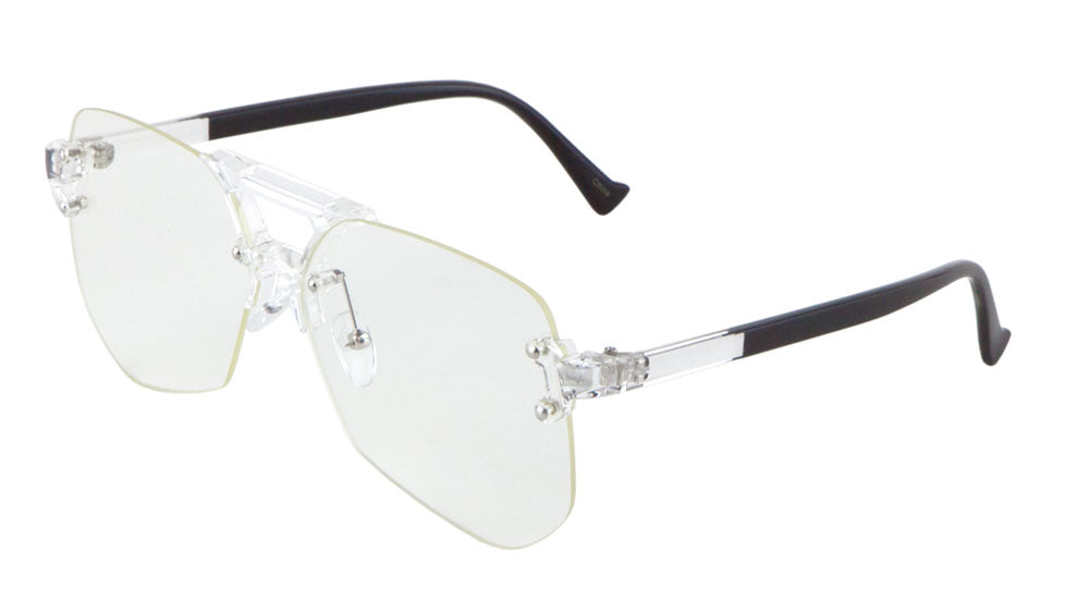 Rimless Angled Clear Lens Aviators Wholesale Bulk Glasses