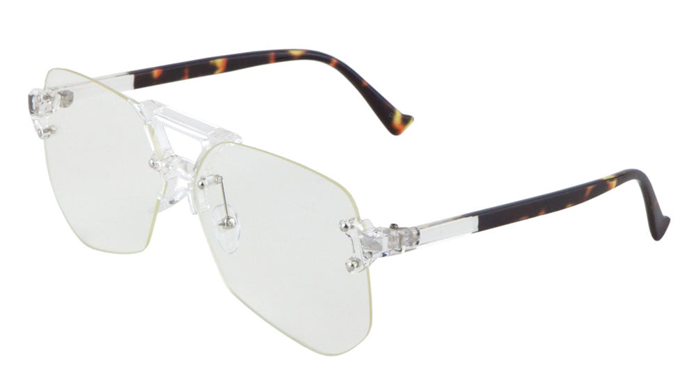 8bbf76d3c69ed Rimless Angled Clear Lens Aviators Wholesale Bulk Glasses – Frontier ...