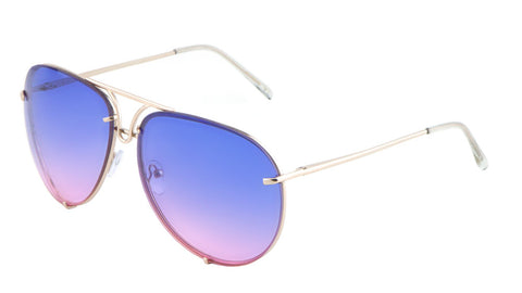 AV-1539-OC - Rimless Oceanic Color Aviators Wholesale Bulk Sunglasses