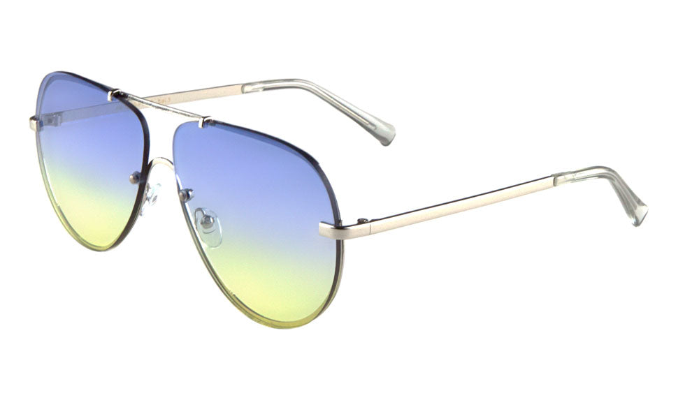Rimless Flat Oceanic Color Aviators Bulk Sunglasses