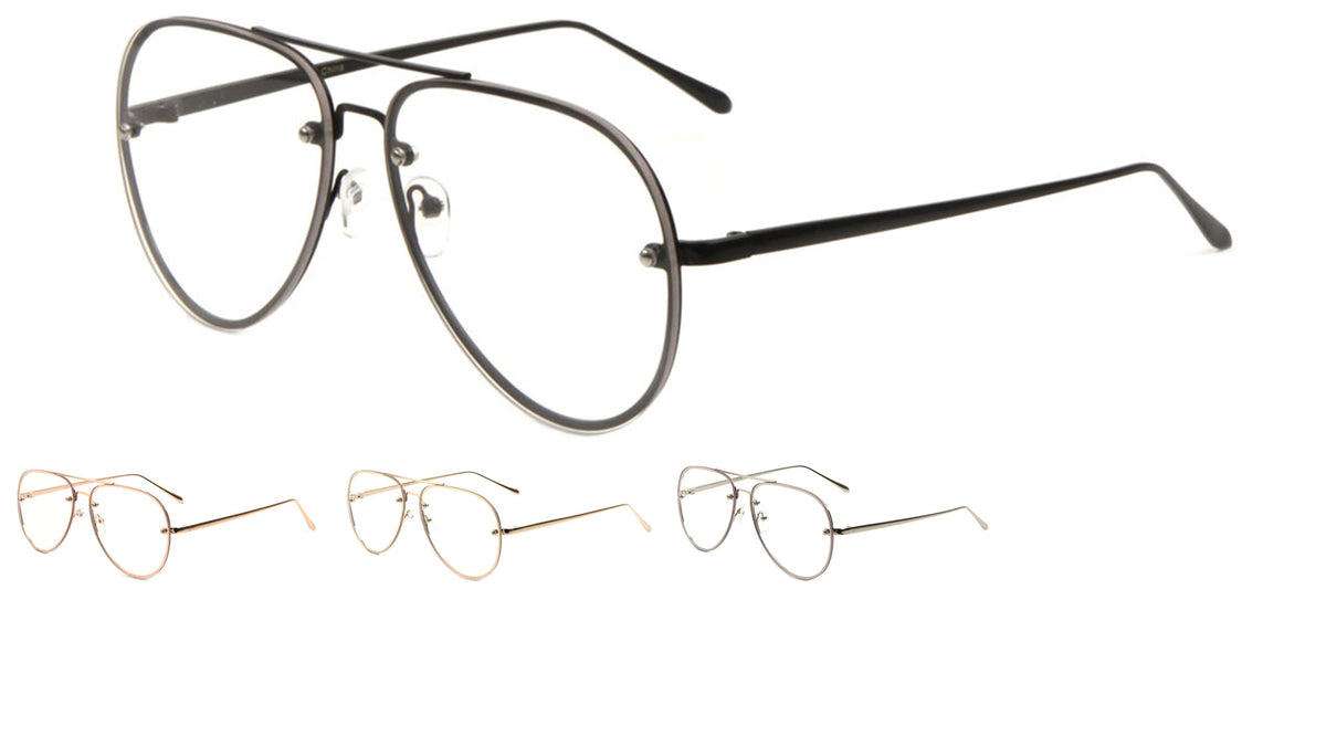 Aviators Rimless Clear Lens Wholesale Bulk Glasses