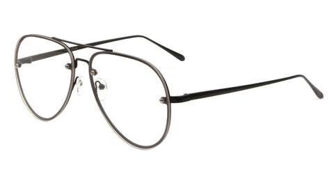 AV-1562-CLR - Aviators Rimless Clear Lens Wholesale Bulk Glasses