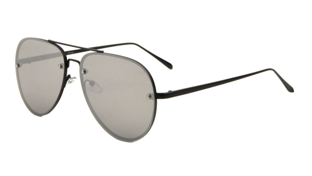 Rimless Aviators Color Mirror Stylized Nose Bridge Fashion Wholesale Sunglasses