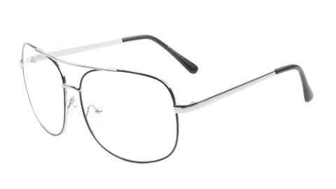 AV-1565-CLR - Squared Aviators Clear Lens Wholesale Bulk Glasses