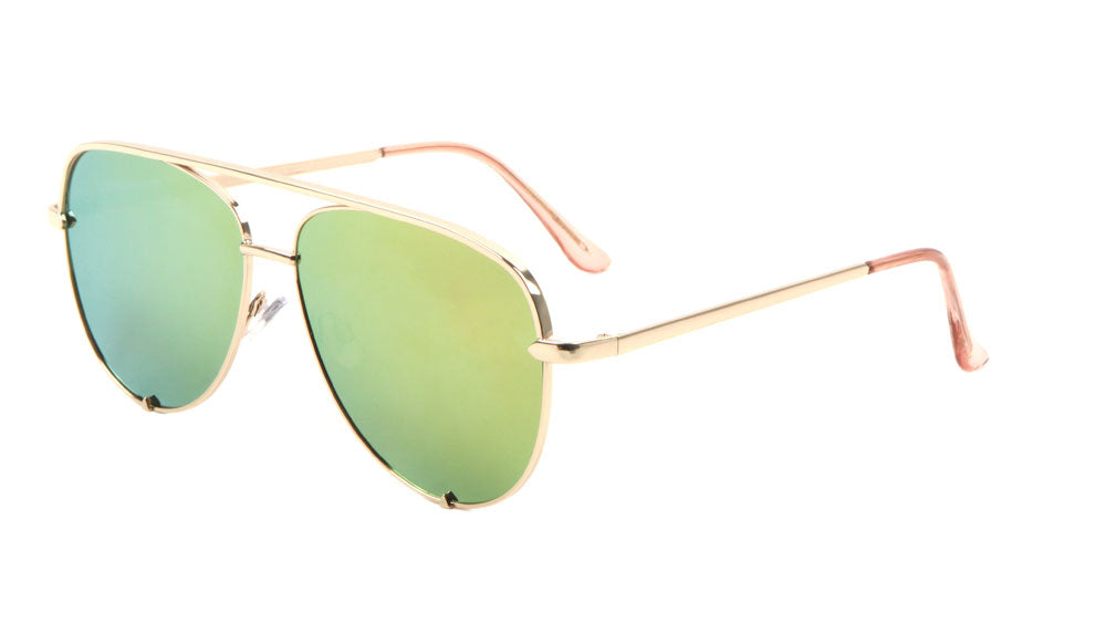 Aviators Color Mirror Pointed Temples Fashion Sunglasses Wholesale