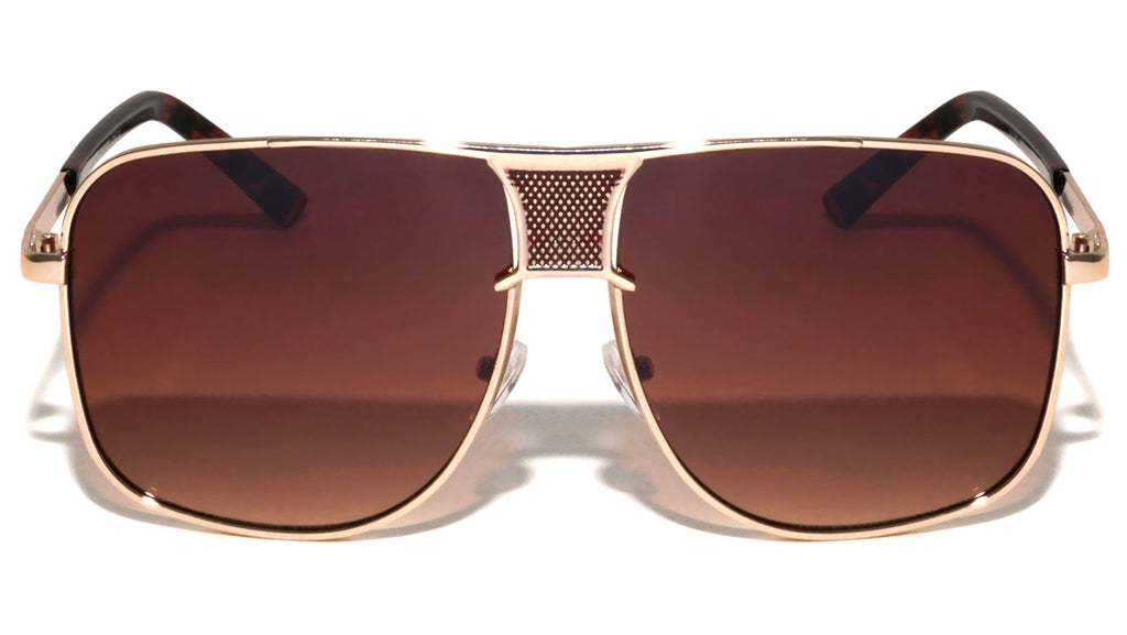 Squared Aviators Front Grille Fashion Wholesale Sunglasses