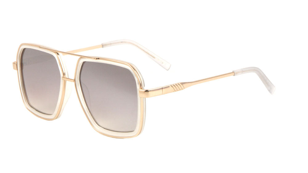 Squared Aviators Color Mirror Lens Wholesale Bulk Sunglasses