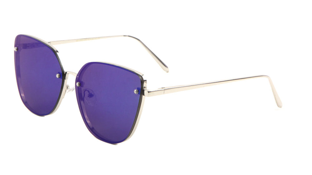 Rimless Color Mirror Cat Eye Wholesale Sunglasses