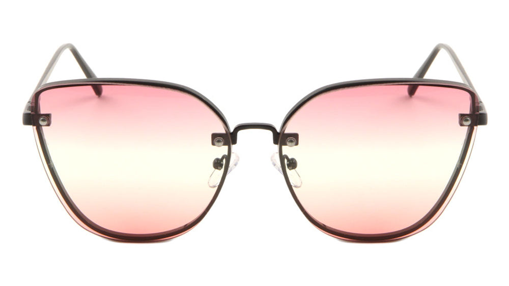 Rimless Triple Oceanic Color Cat Eye Bulk Sunglasses