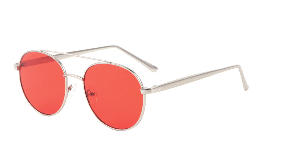Rounded Color Lens Aviators Fashion Wholesale Sunglasses