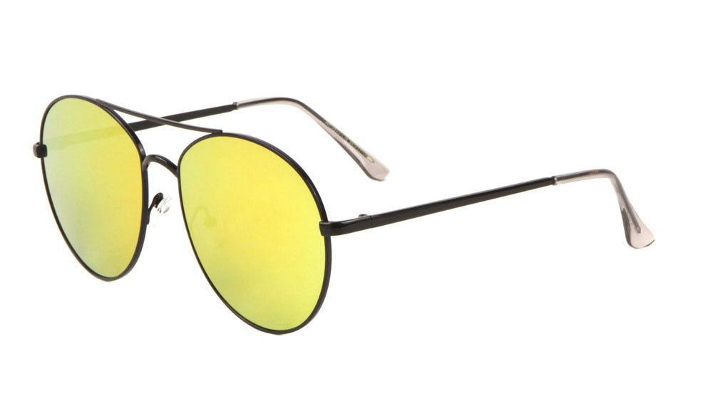 AV-1633-CM - Rounded Color Mirror Aviators Wholesale Bulk Sunglasses