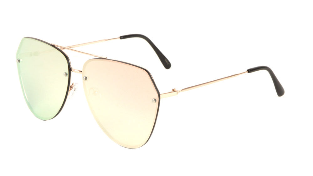 Rimless Angled Corner Color Mirror Aviators Bulk Sunglasses