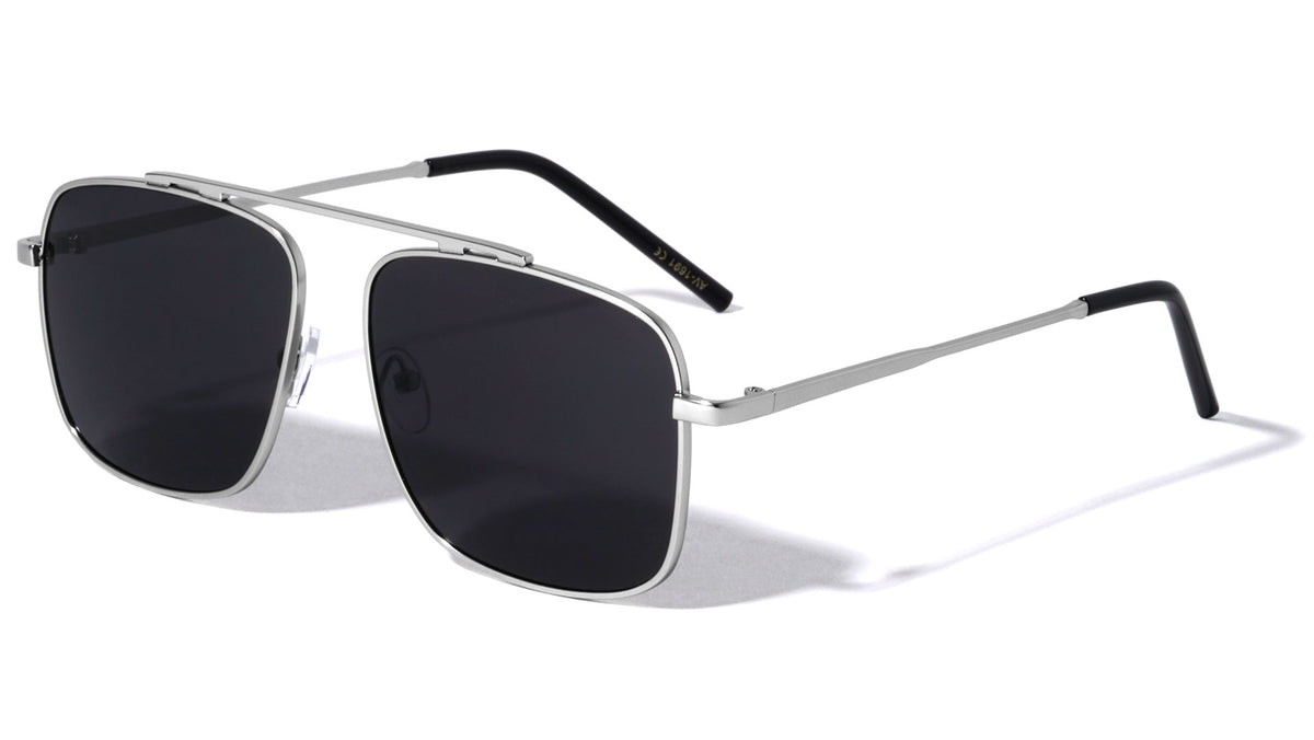 Bridgeless Squared Aviators Sunglasses Wholesale