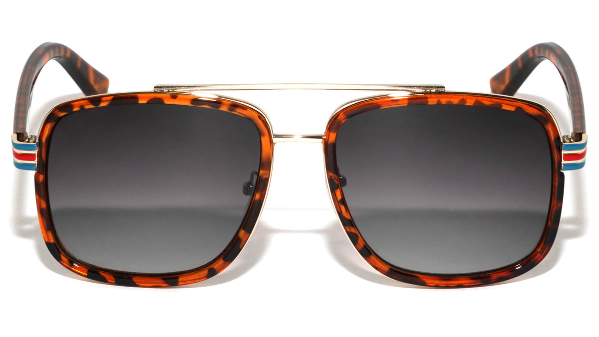 Stripe Temple Squared Aviators Wholesale Sunglasses