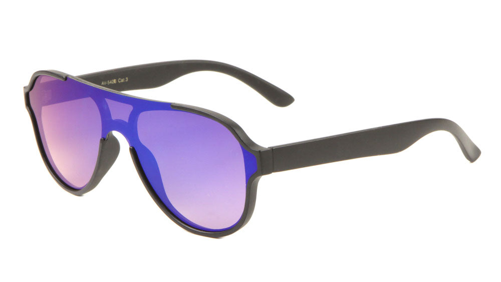 Flat Top One Piece Shield Aviators Sunglasses Wholesale