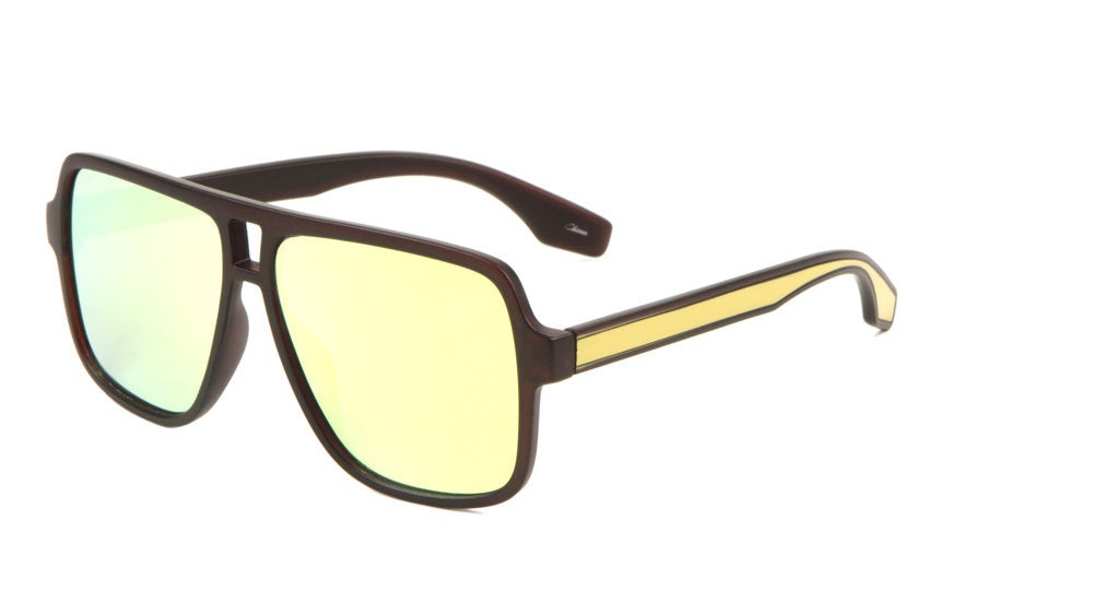 Aviator Color Accent Plastic Sunglasses