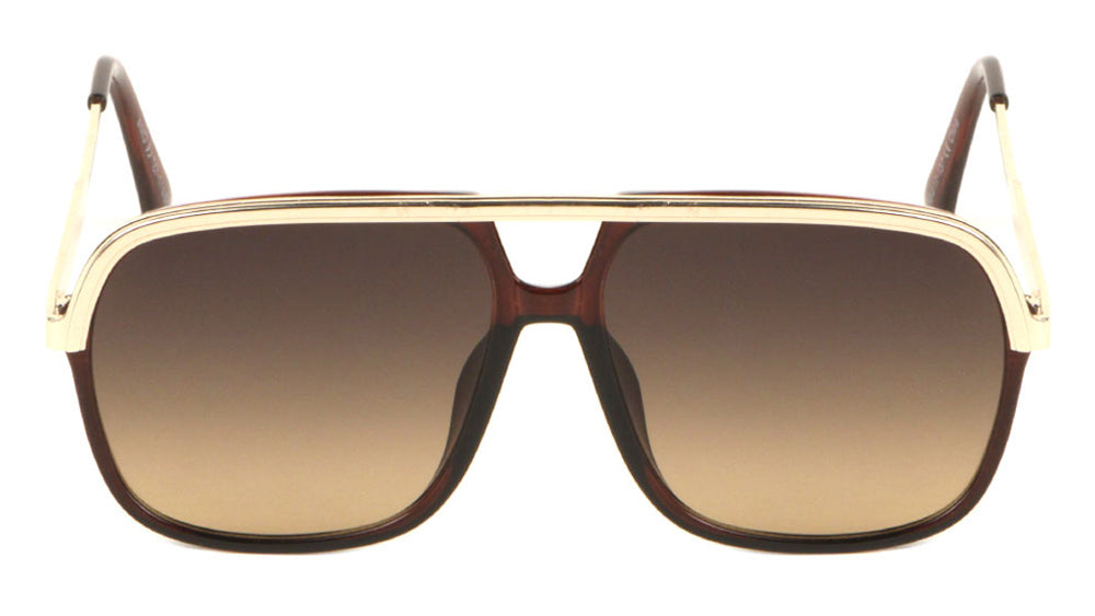 Solid Browline Fashion Aviators Sunglasses Wholesale