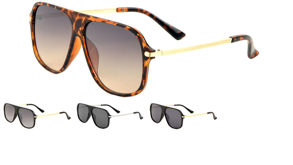 Grooved Temple Aviators Sunglasses Wholesale