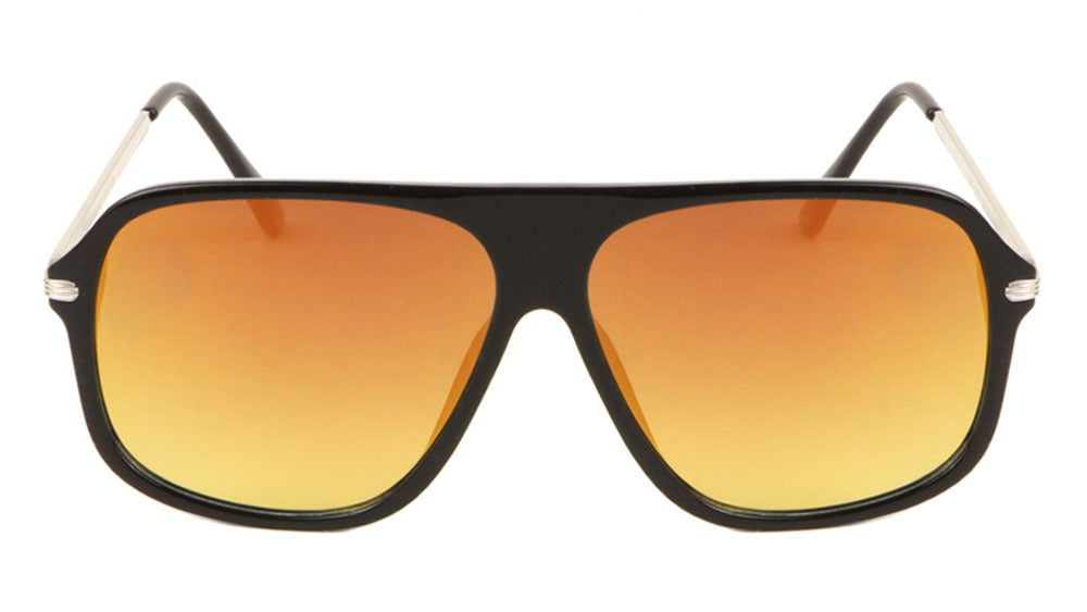 Solid Plate Aviators Color Mirror Wholesale Sunglasses