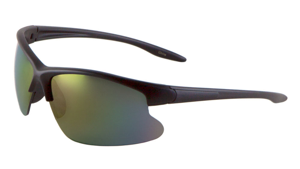 BP0076-CM - Sport Semi-Rimless Color Mirror Wholesale Bulk Sunglasses