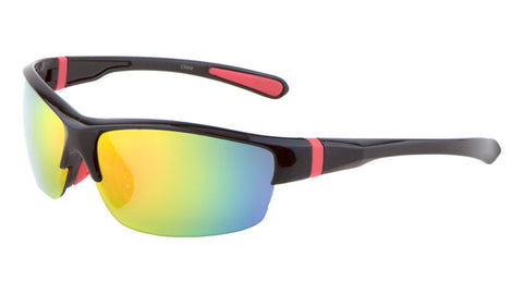 BP0084-CM - Sport Semi Rimless Color Mirror Wholesale Bulk Sunglasses