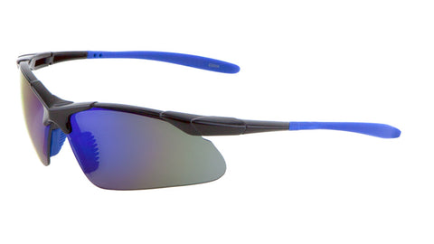 BP0086-CM - Sport Semi Rimless Color Mirror Wholesale Bulk Sunglasses