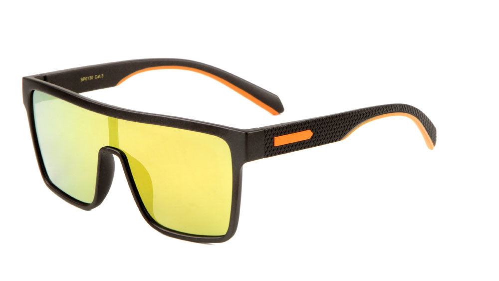 Flat Top One Piece Shield Classic Sunglasses Wholesale