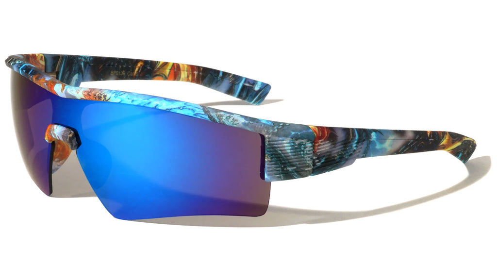 Semi-Rimless Street Art Graffiti Shield Sunglasses Wholesale