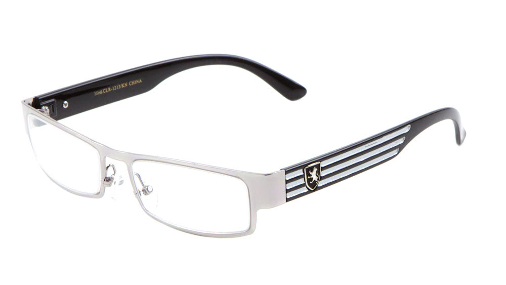 KHAN Rectangle Clear Lens Stripes Wholesale Bulk Glasses