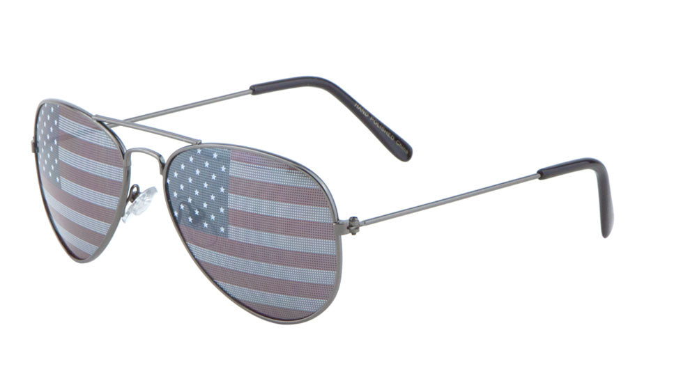Kids' American Flag Aviators Wholesale Bulk Sunglasses