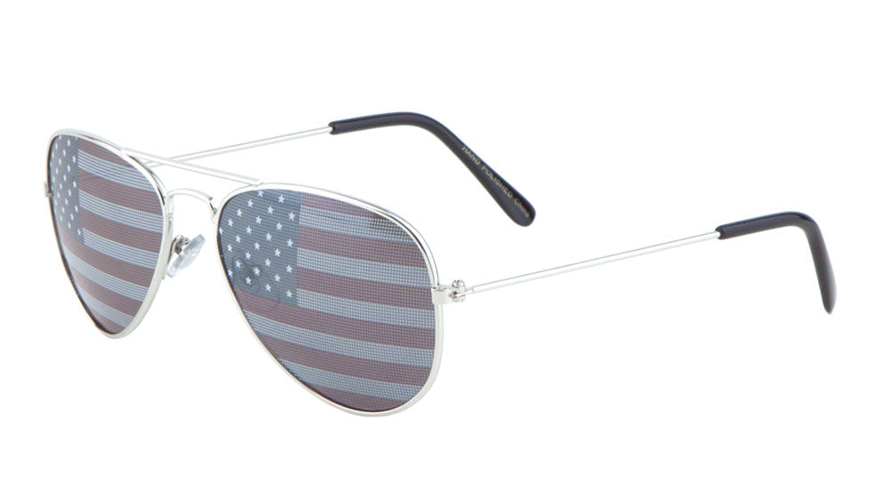 K6941-FLAG - Kids American Flag Aviators Wholesale Bulk Sunglasses