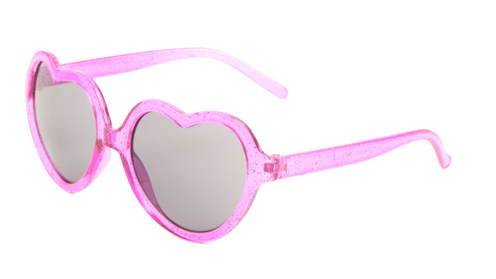 K804 - Kids Crystal Glitter Heart Shape Wholesale Bulk Sunglasses