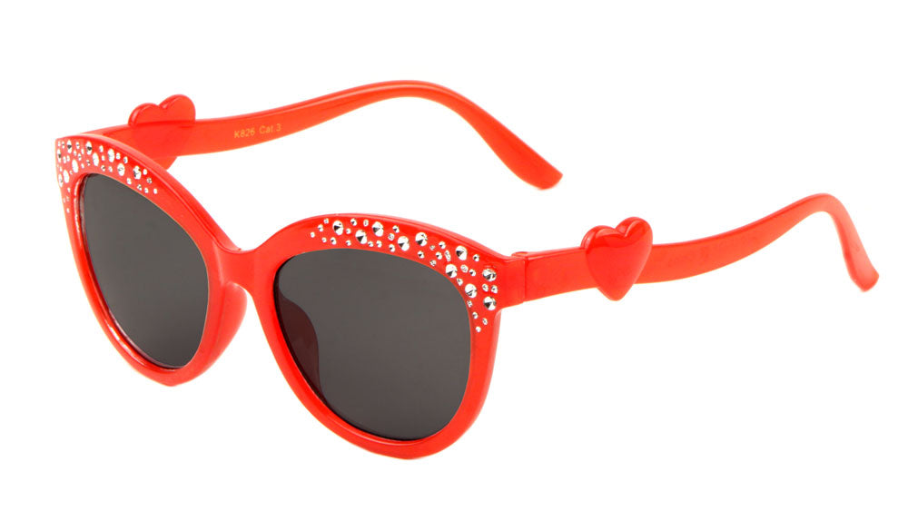Kids' Rhinestone Heart Cat Eye Sunglasses Wholesale