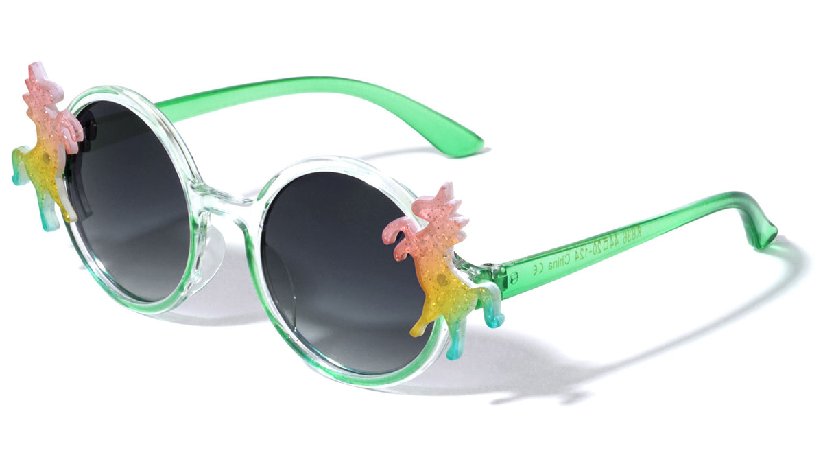 Kids Glitter Round Unicorn Sunglasses Wholesale
