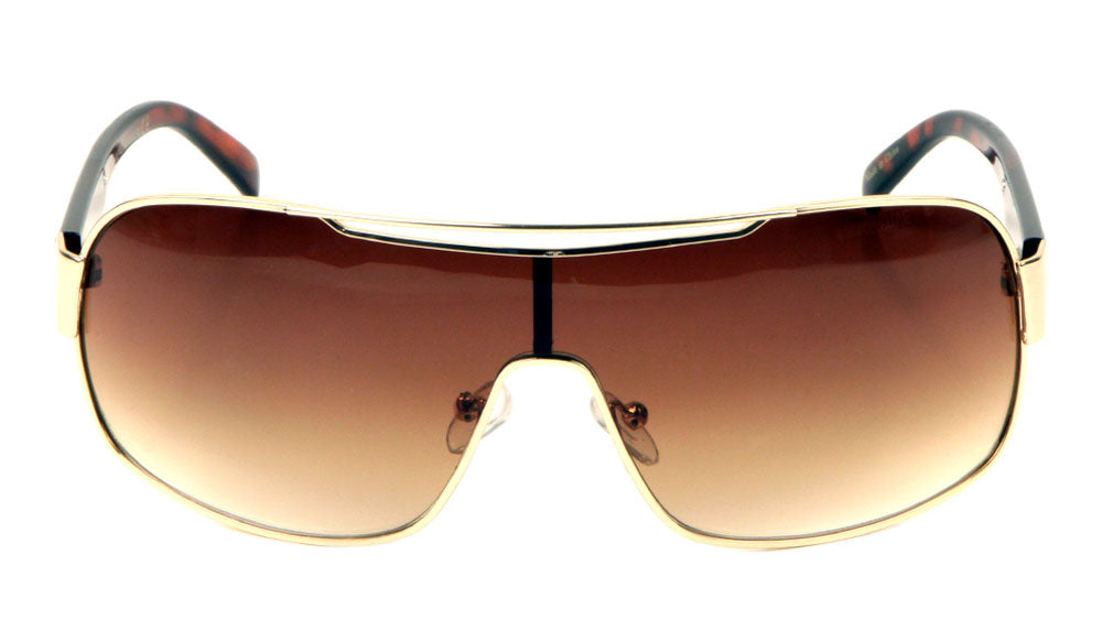 KHAN Metal Accent One Piece Shield Sunglasses Wholesale