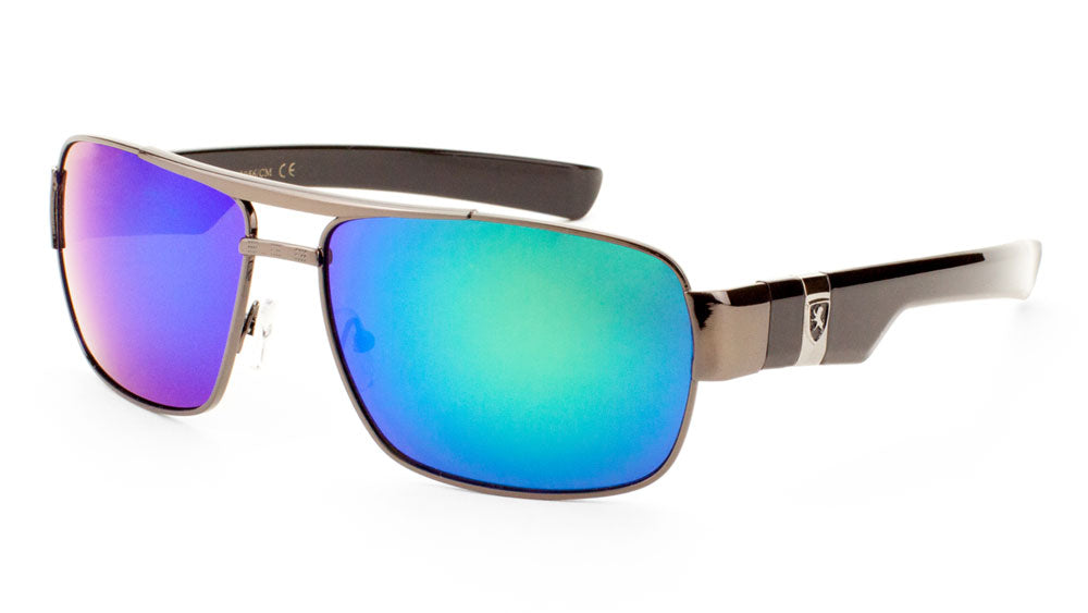 KHAN Color Mirror Squared Aviators Sunglasses Wholesale
